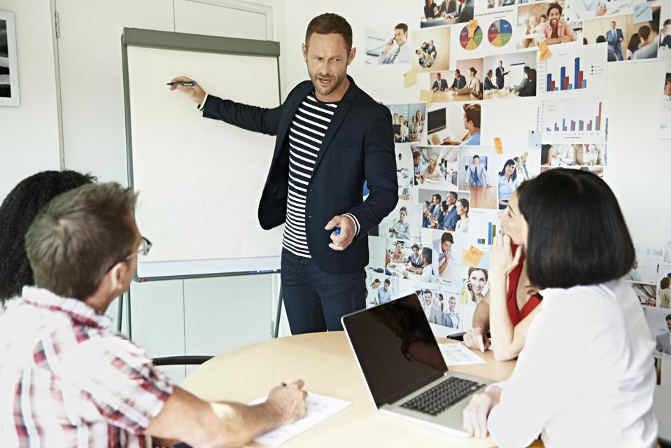 Creative businessman presenting project