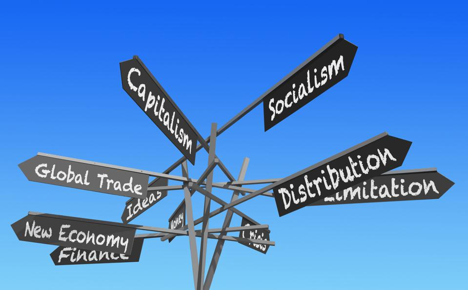 Sign post with economic terms pointing in various directions.