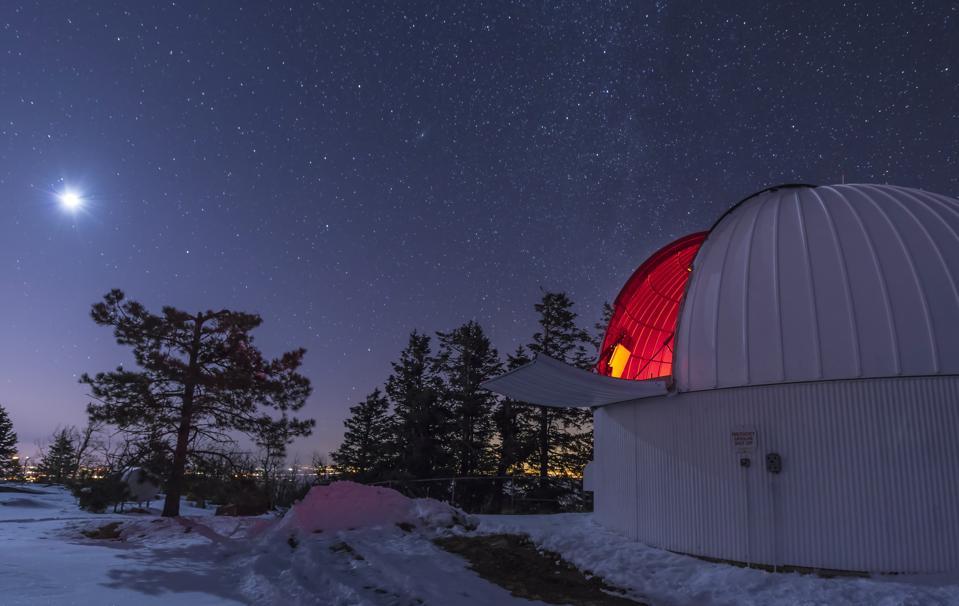 Moonlight illuminates the Schulman telescope on Mount Lemmon.