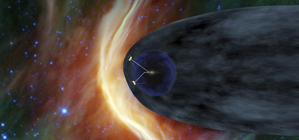 NASA's two Voyager spacecraft exploring a turbulent region of space.