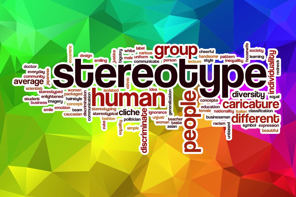 Stereotype word cloud with abstract background