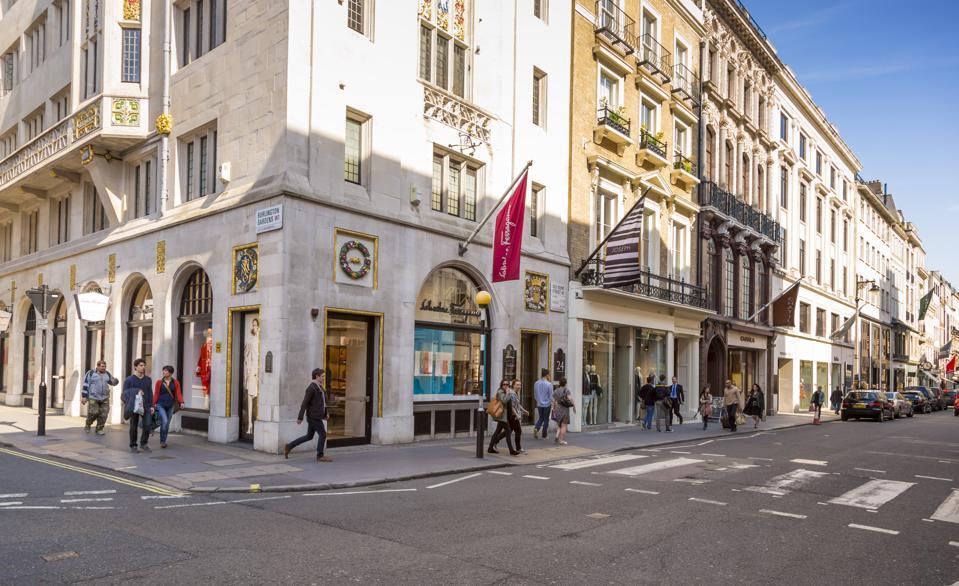 Luxury shops in Old Bond Street in London's Mayfair area...