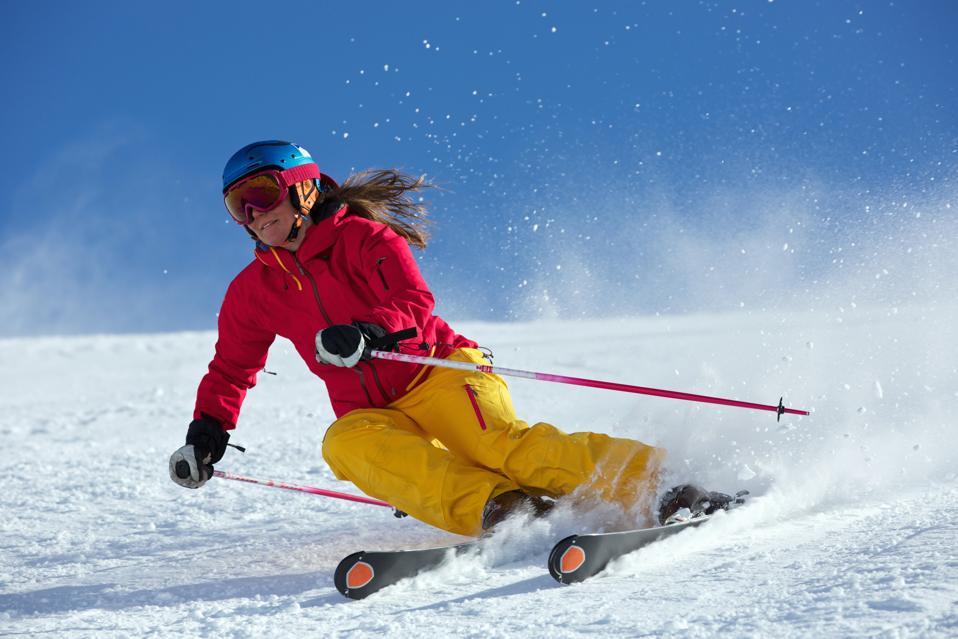 Woman skiing in Kuhtai , Tirol, Austria
