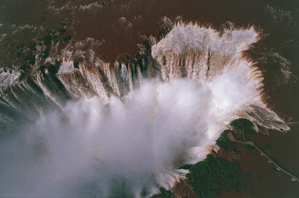 Aerial view of Iguacu or Iguazu waterfalls, Iguazu National Park (UNESCO World Heritage List, 1986) - Brazil, Argentina...