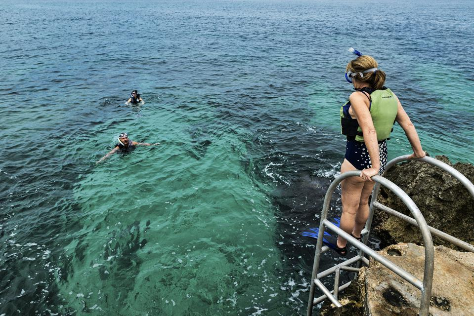 Snorkeling in the tropical aqua waters of Negril...