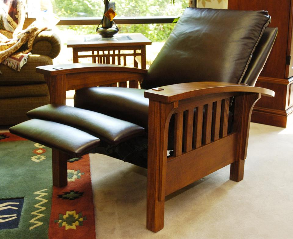 This leather and wood recliner is called a mission chair.