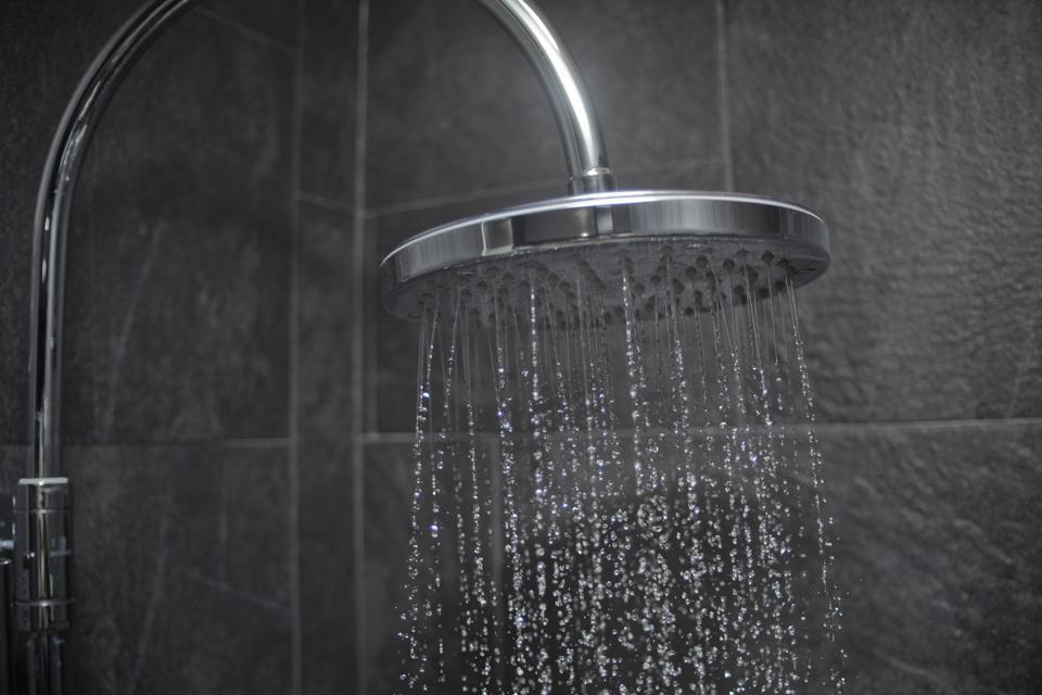 Large shower head spraying water