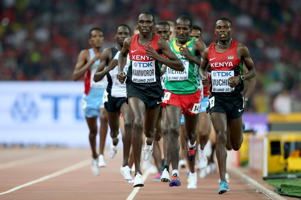 Geoffrey Kamworor leads the pack at the IAAF World Athletics Championships in Beijing