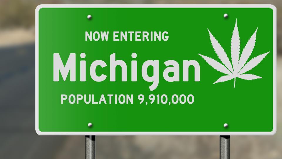 Michigan highway sign with marijuana leaf
