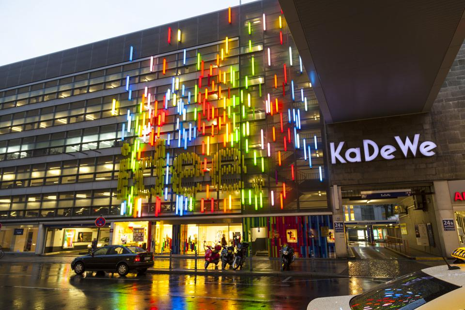 The famous shopping street Kurfürstendamm with KADEWE in neon lights