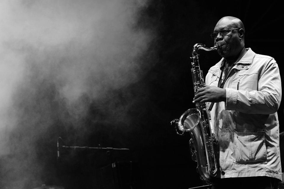 Manu Dibango performs during Torino Jazz Festival at Piazza Castello April 28, 2014 in Turin, Italy.