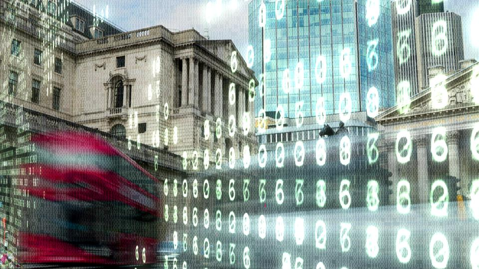 Bank of England with electronic numbers.