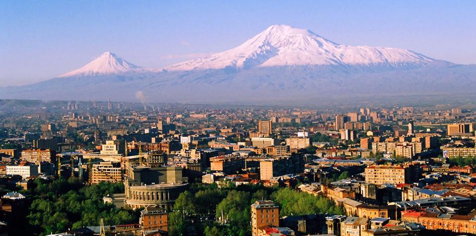 Mount Ararat and the city of Yerevan, Armenia.