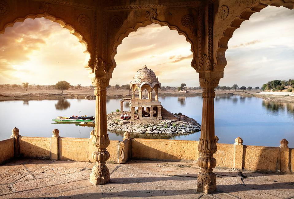 Temple on the water in India