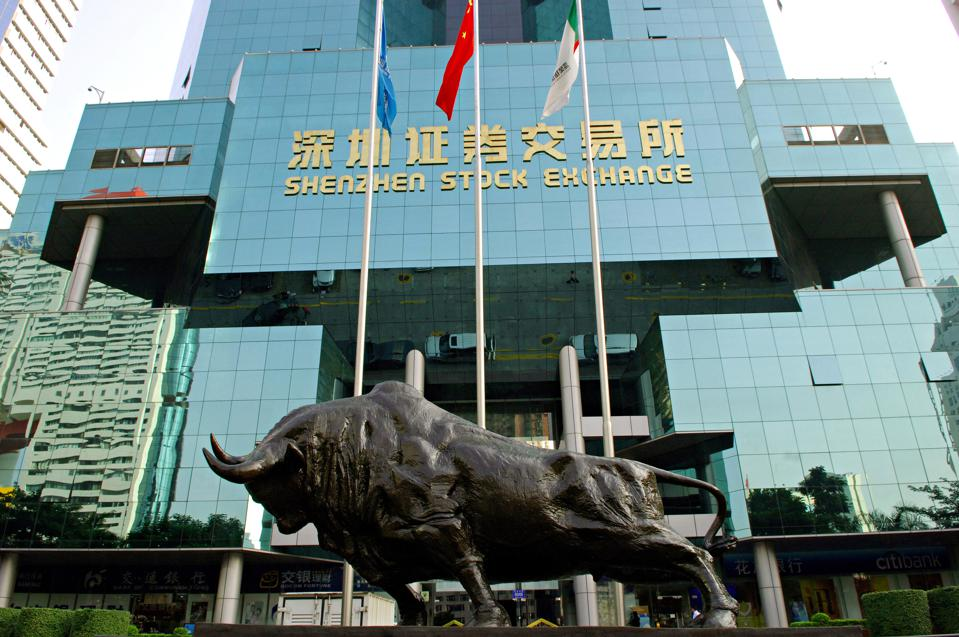A bronze bull in front of Shenzhen Stock Exchange symbolizes...