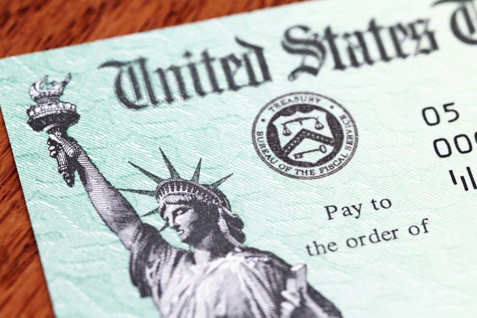 USA Treasury IRS refund check