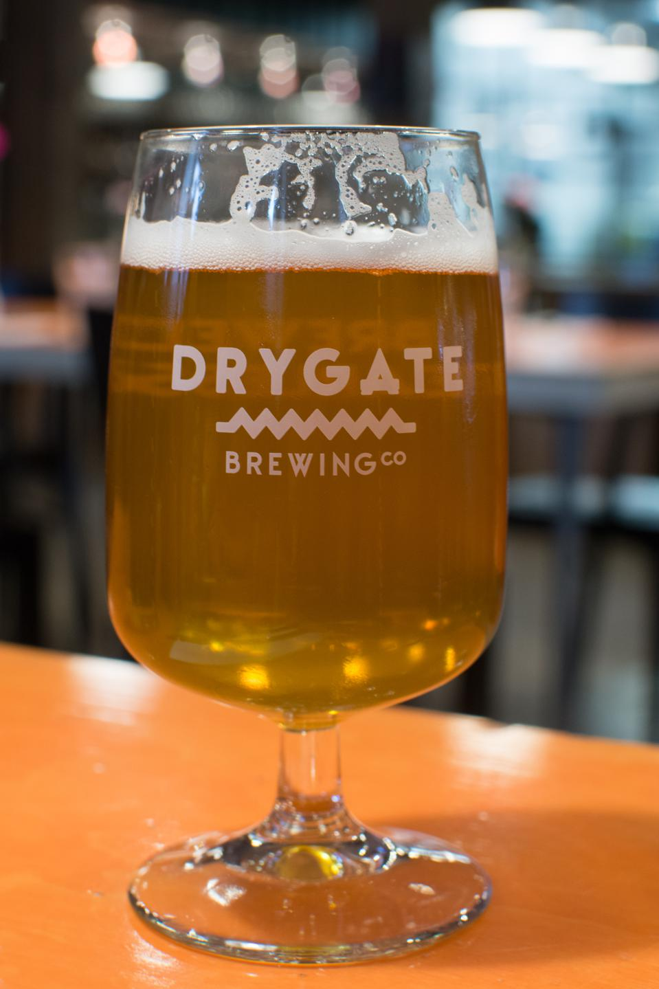 glass of Drygate craft beer