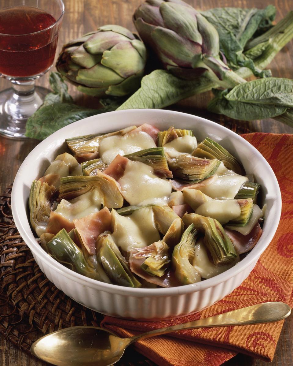 Baked artichokes and mozzarella...