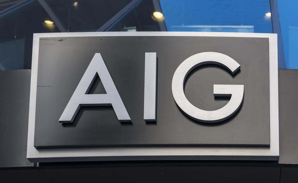 AIG or American International Group signage on its building...
