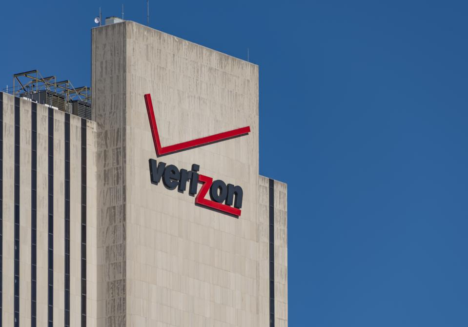 Verizon signage and logo on its building at 375 pearl street...