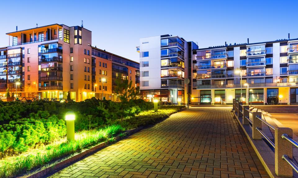 Contemporary building facades, new real estate