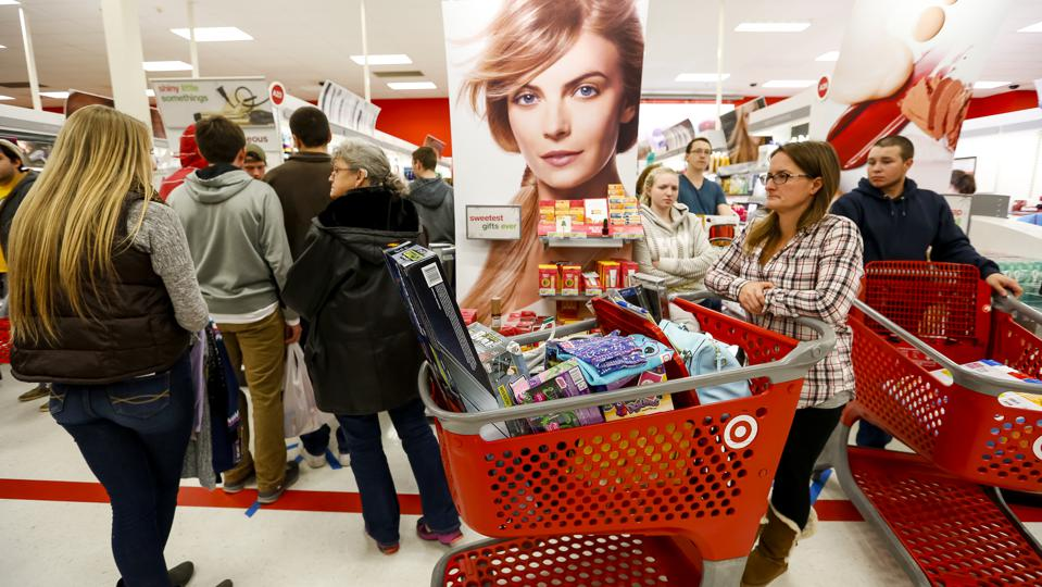 Midnight crowds at a Target store on Black Friday