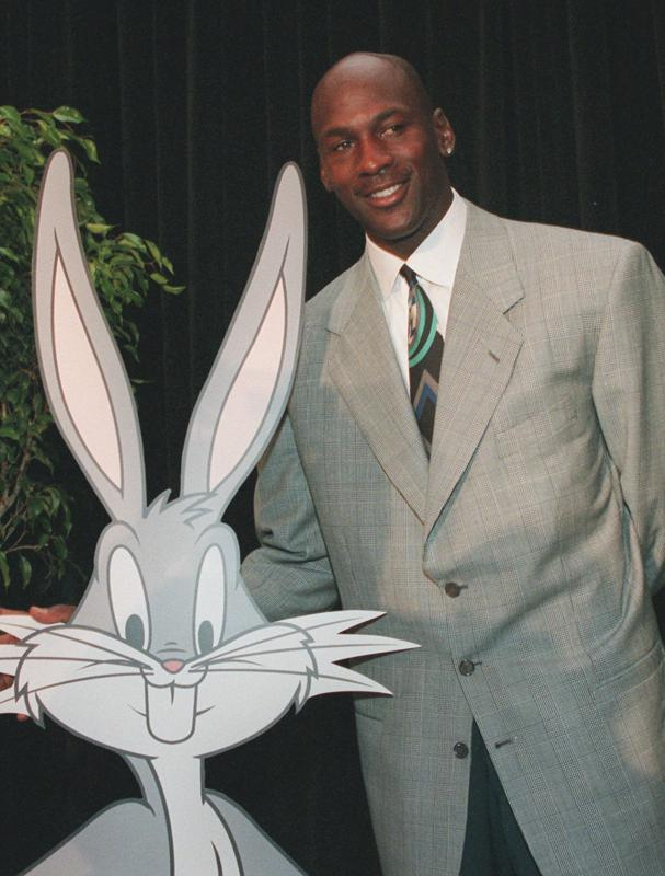 Michael Jordan with Bugs Bunny during a news conference for ″Space Jam.″
