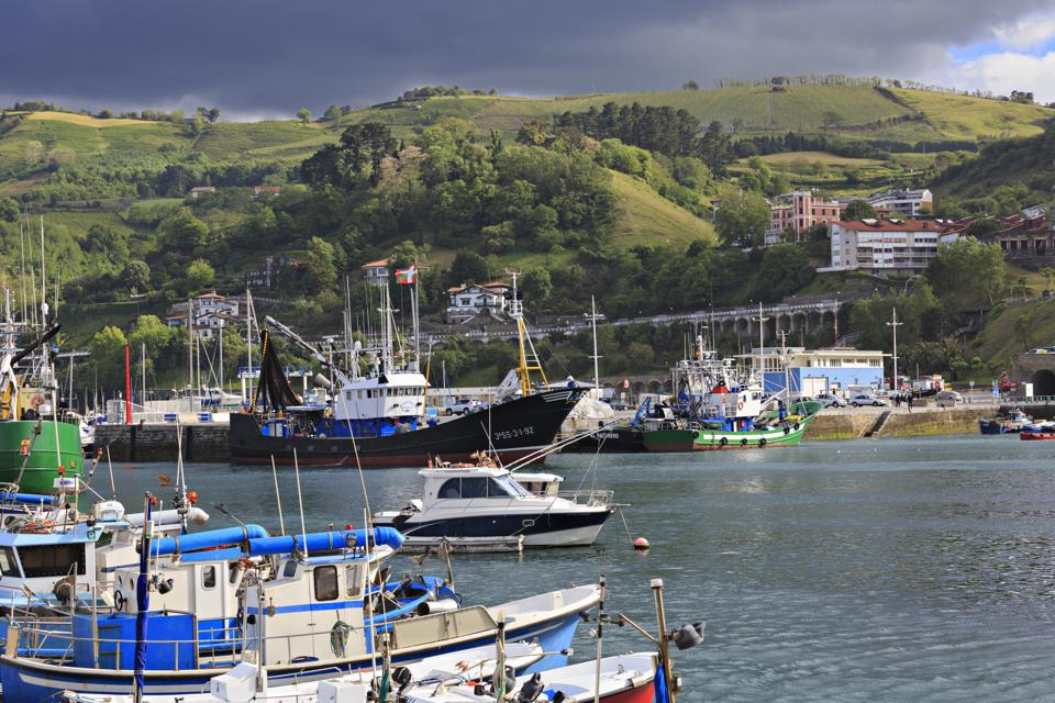 The busy fishing port in Getaria, Spain