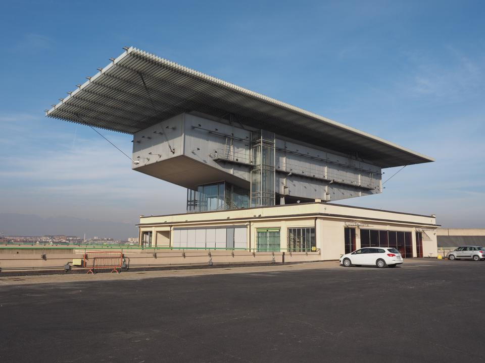 Lingotto Pinacoteca Agnelli in Turin Turin, Italy - December 16, 2015: The Pinacoteca Agnelli art gallery at Lingotto former Fiat car factory was designed by Italian architect Renzo Piano as a steel framed extension to the original reinforced concrete building