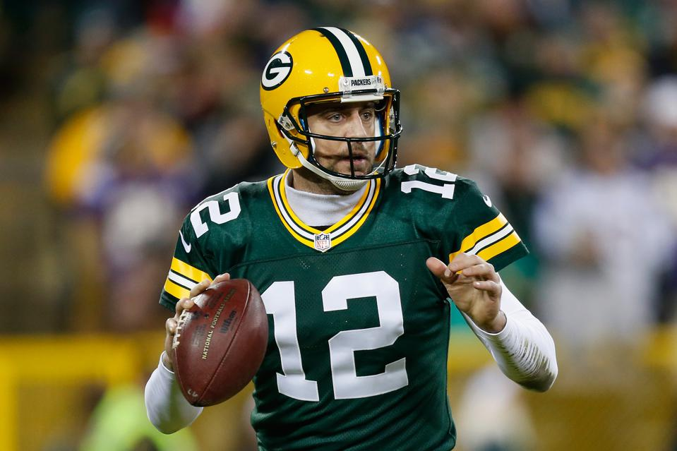 GREEN BAY, WI – JANUARY 03: Aaron Rodgers #12 of the Green Bay Packers looks ...