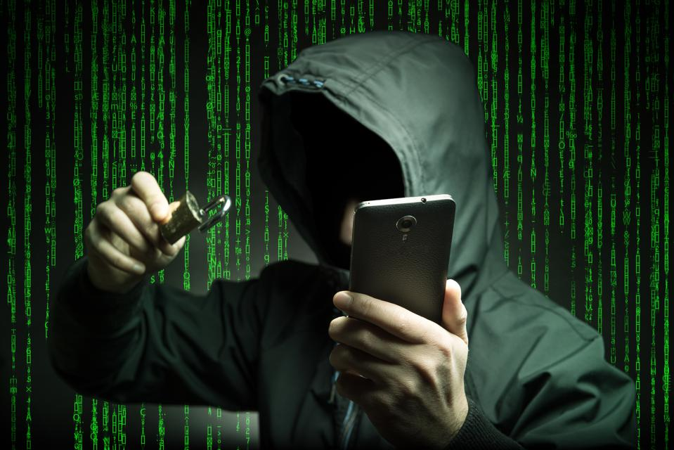 Hacker stealing data from Smart phone