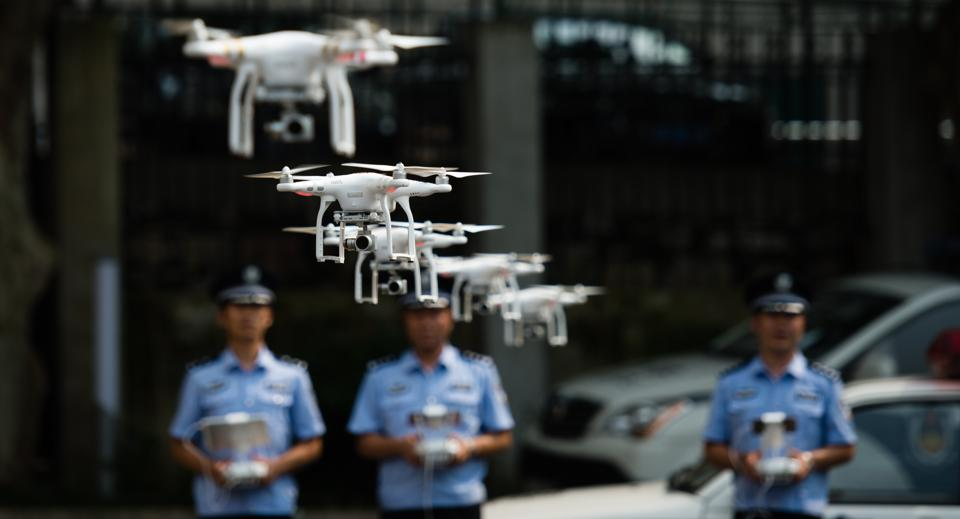 Chinese police drones