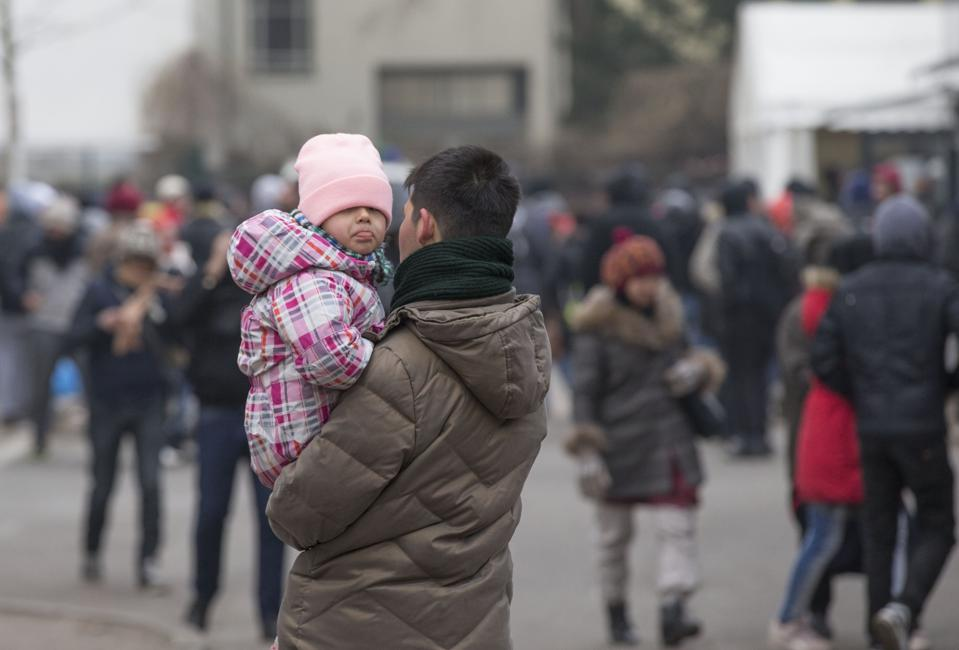 Refugees at the LaGeSo in Berlin