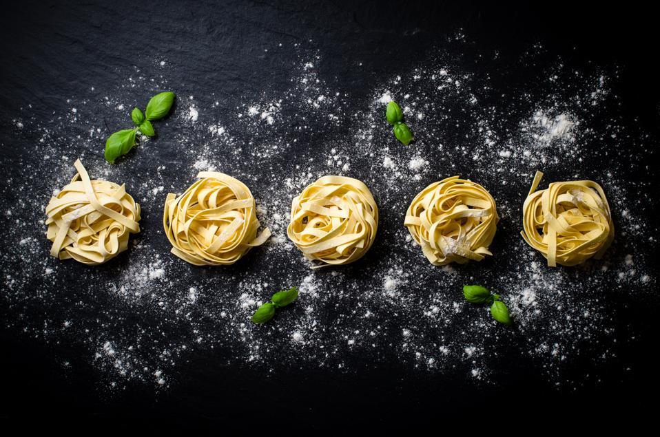 Pasta on dark background