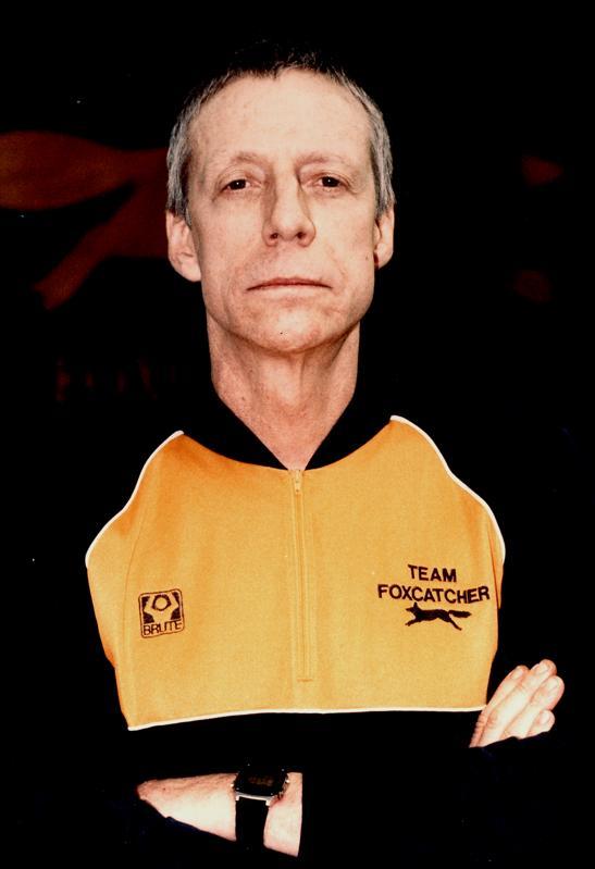 John E du Pont in Team Foxcatcher warm up suit