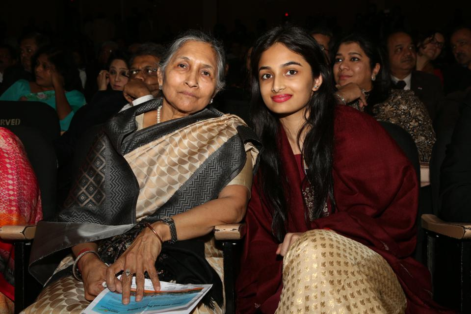 Savitri Jindal and her granddaughter Yashasvini Jindal at an award ceremony in New Delhi in 2016.