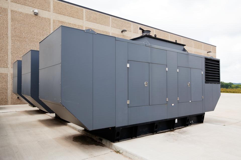 Three Large Industrial Emergency Power Standby Generators