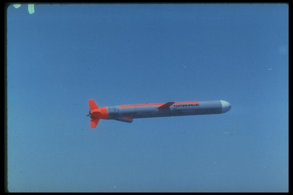 Tomahawk cruise missile flying through a