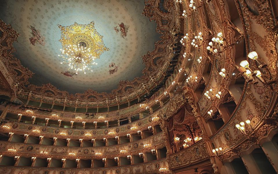 La Fenice Theatre Celebrations VENICE, ITALY - JANUARY 29:  A detailed view of the interior and ceiling of La Fenice Theatre on January 29, 2016 in Venice, Italy. On the 29th January 1996 Venice mourned the loss of its world famous La Fenice opera house as the fire completly destroyed the building highlighting the threat of disaster in the fragile lagoon city