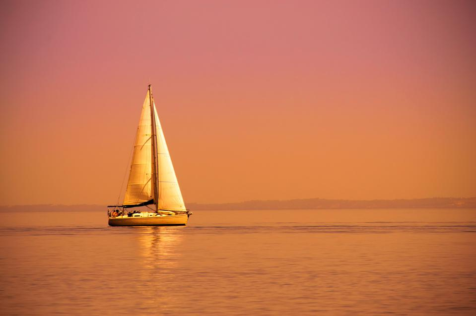 Lonely sail boat
