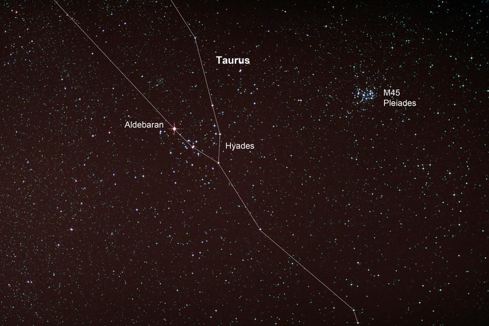 Starfield with Taurus and Pleiades