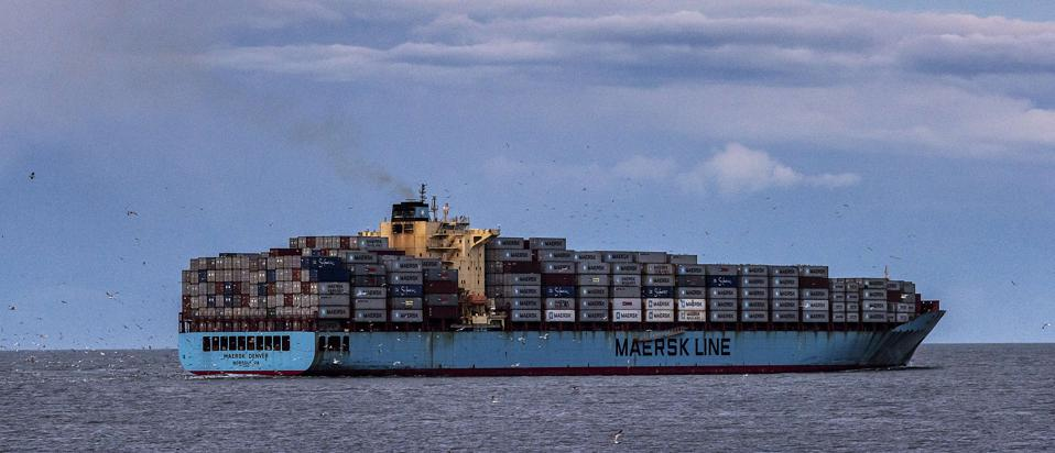 Maersk container ship departs from Chesapeake Bay on...