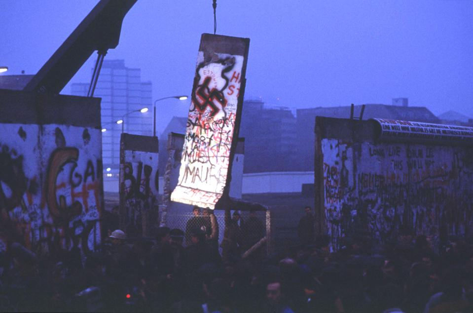 Lone Light Illuminates A Piece Of The Berlin Wall