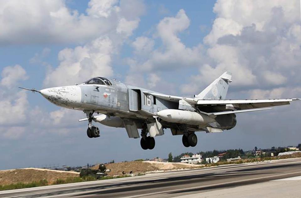 Russian Air Force Su-24 jet at Hmaimim Air Base, Syria