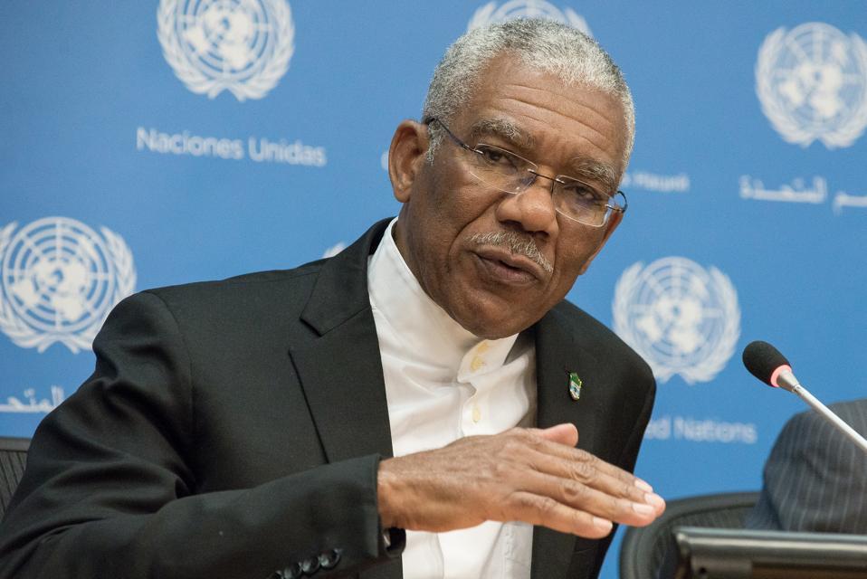 Guyanese President David Granger speaks with the press.