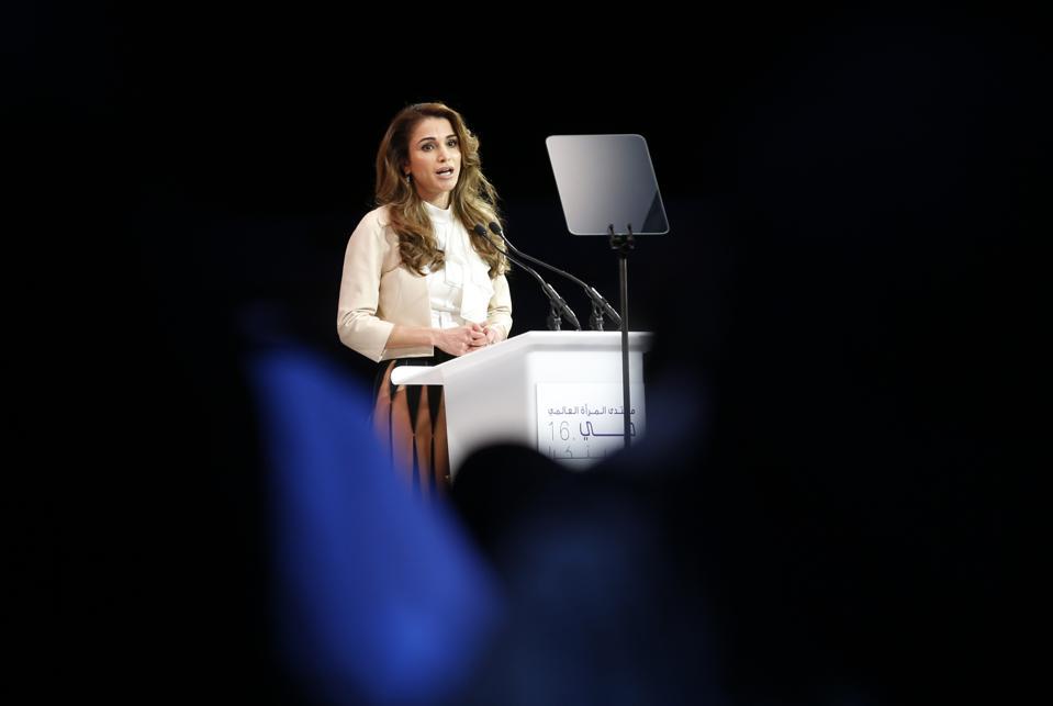 Jordan's Queen Rania delivers a speech.