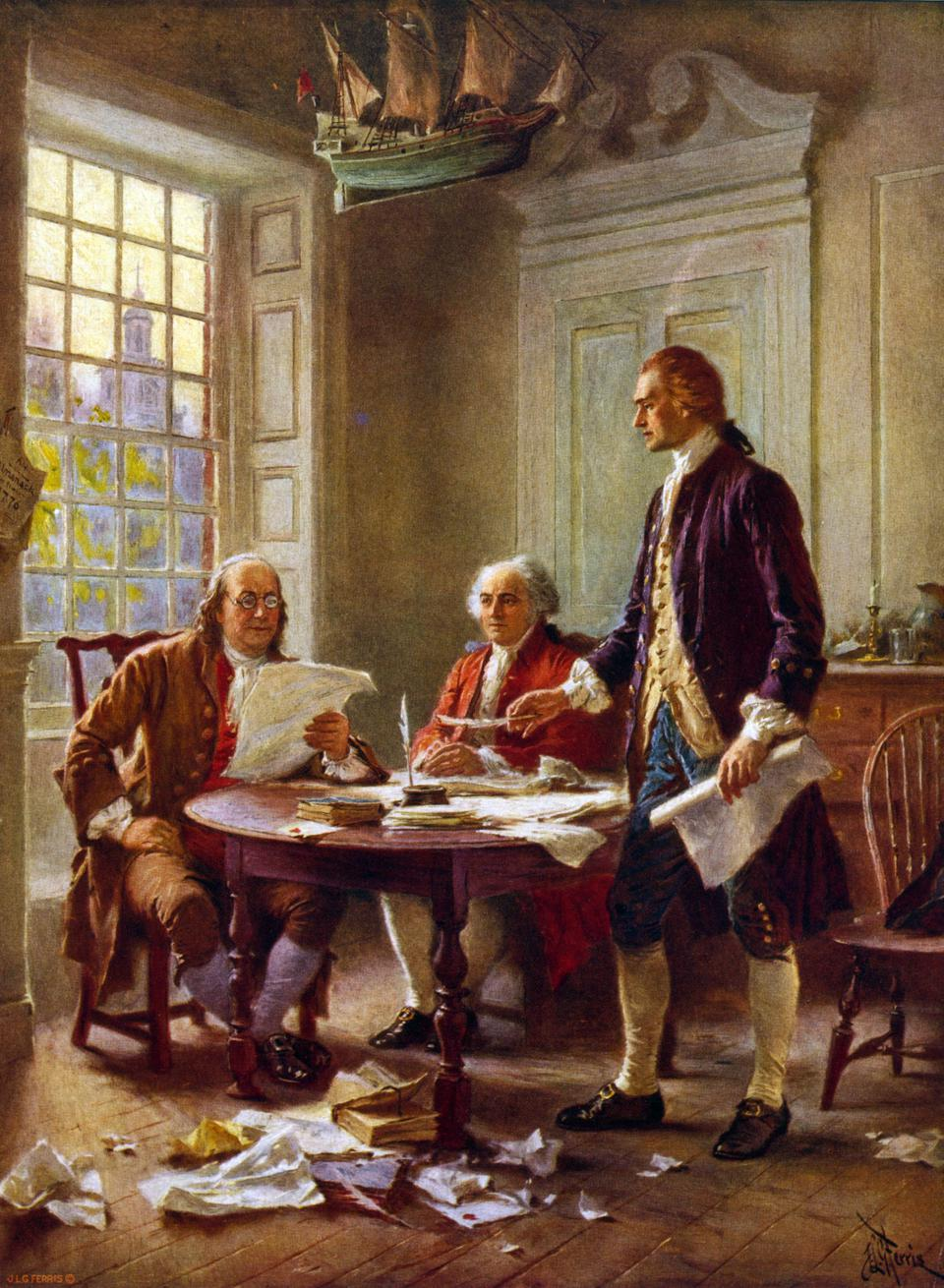 Writing the Declaration of Independence.