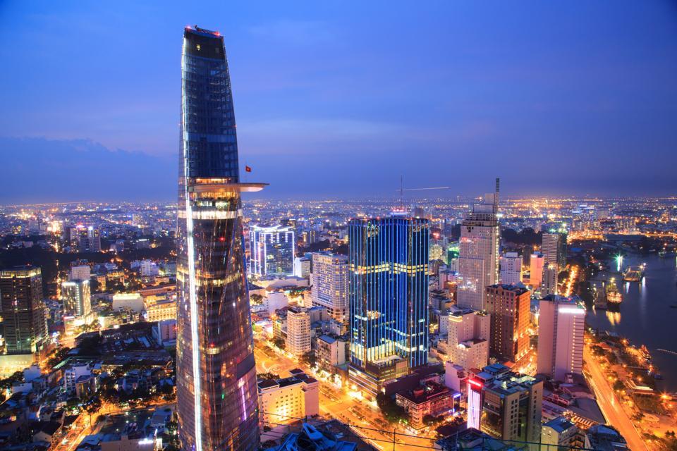 Beautiful shot of Ho Chi Minh City at night
