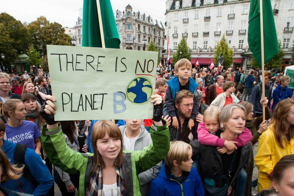 A march in support of action on climate change in Oslo, Norway