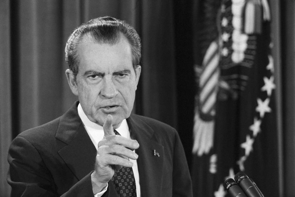 President Nixon Points to a Reporter